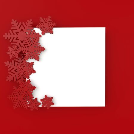 Christmas background with red snowflakes. Xmas and new year greeting card 3d render illustration with white paper on red background. Stockfoto