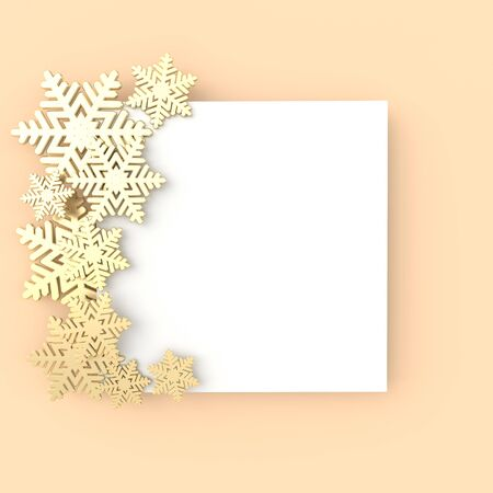 Christmas background with shining golden snowflakes. Xmas and new year greeting card 3d render illustration with white paper on beige background. Stockfoto