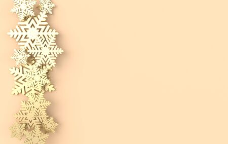 Christmas background with shining golden snowflakes. Xmas and new year greeting card 3d render illustration on beige background.