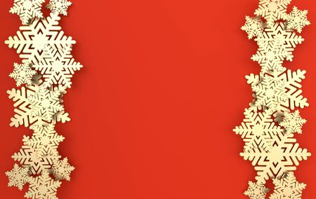 Christmas background with golden snowflakes. Winter decoration. Xmas and new year paper art style greeting card, 3d render illustration on red background.