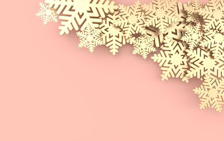 Christmas background with shining golden snowflakes. Xmas and new year greeting card 3d render illustration on pink background. Stockfoto