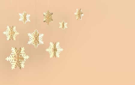 Christmas background with golden paper snowflakes. Winter decoration. Xmas and new year paper art style greeting card, 3d render illustration background.