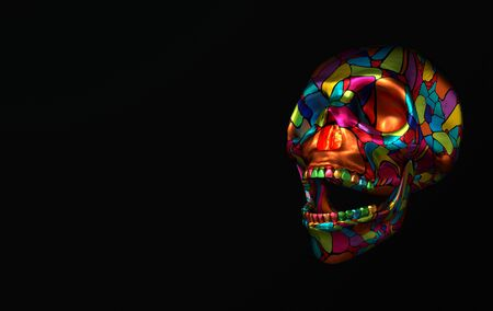 Human scull 3d rendering. Colorful laughing deaths-head  on black background