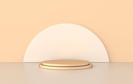 3d rendered studio with geometric shapes, podium on the floor. Platforms for product presentation, mock up background. Abstract composition in minimal design, pastel and gold colors