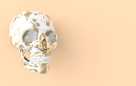 Human scull 3d rendering. White and golden deaths-head on beige background