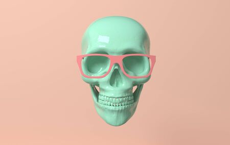 Human scull 3d rendering. Green deaths-head in glasses on pink background