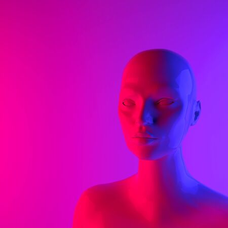 Female mannequin head 3d render. Shop display, neon pink and purple light