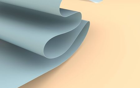 Modern paper art abstract background, 3d render paper waves. Realistic trendy craft style. Origami design template. Pastel colored wavy folds Banco de Imagens