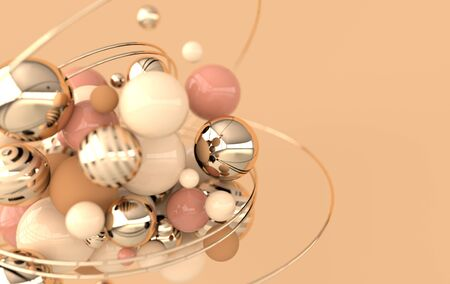 Colorful balls 3d rendering. Chaotic spheres geometric abstract background, primitive shapes, minimalistic design, pastel beige, golden colors