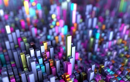 Cubes pattern futuristic background. Science fiction background of geometric shapes with depth of field. Surface grid 3d render illustration