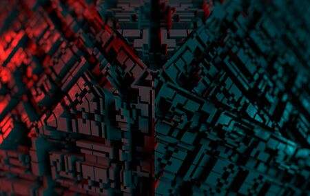 Abstract technological futuristic background. Depth of field effect. 3d rendering 写真素材 - 129917739