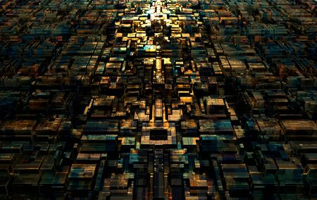 Abstract technological futuristic background, chip square. Depth of field effect. 3d rendering
