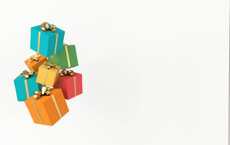 3d rendering of realistic colorful gift box with golden ribbon bow on white background. Empty space for party, promotion social media banners, posters. Zdjęcie Seryjne