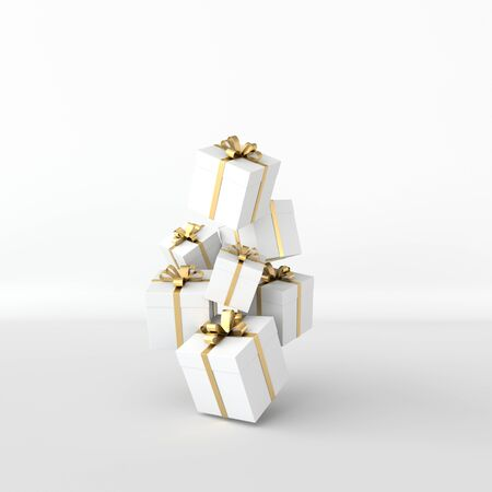 3d rendering of realistic white gift box with golden ribbon bow on white background. Empty space for party, promotion social media banners, posters.