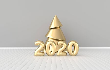 New year 2020 celebration interior background. Golden numerals 2020 and xmas tree. Realistic illustration for New Years and Christmas banners. 3d render Stock fotó