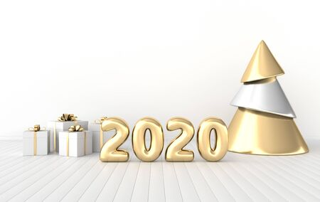 New year 2020 celebration interior background. Golden numerals 2020, poster frame, gift box and xmas tree. Realistic illustration for New Years and Christmas banners. 3d render