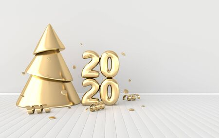 New year 2020 celebration interior background. Golden numerals 2020, confetti ribbons, christmas tree. Realistic illustration for New Years and Christmas banners. 3d render