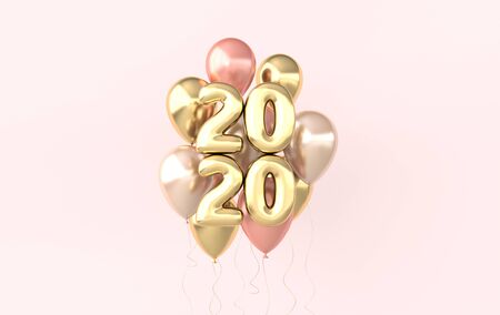 New year 2020 celebration background. Golden numerals 2020, floating glossy balloons. Realistic illustration for New Years and Christmas banners. 3d render