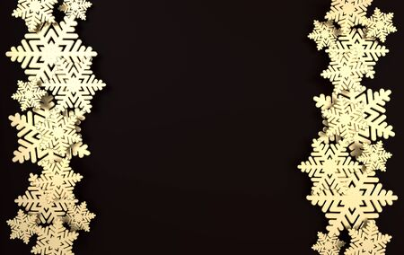 Christmas background with golden snowflakes. Winter decoration. Xmas and new year paper art style greeting card, 3d render illustration on black background.