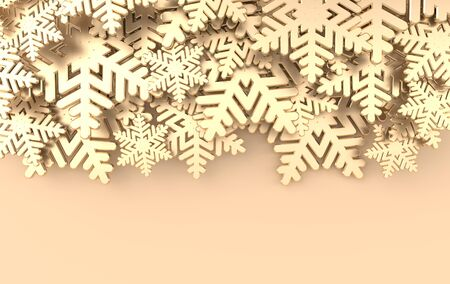 Christmas background with golden snowflakes. Winter decoration. Xmas and new year paper art style greeting card, 3d render illustration on beige background.