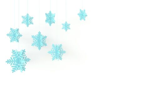 Christmas background with blue paper snowflakes. Winter decoration. Xmas and new year paper art style greeting card, 3d render illustration on white background.