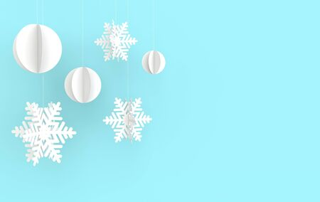 Christmas background with white paper snowflakes and ball. Winter decoration. Xmas and new year paper art style greeting card, 3d render illustration on blue background. Zdjęcie Seryjne