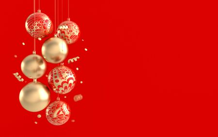 Merry Christmas and Happy New Year 3d render illustration card with ornate golden, red xmas balls. Winter decoration, xmas minimal design