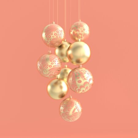 Merry Christmas and Happy New Year 3d render illustration card with ornate pink and golden xmas balls. Winter decoration, minimal design Zdjęcie Seryjne