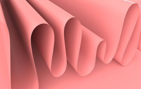 Modern paper art abstract background, 3d render paper waves. Realistic trendy craft style. Origami design template. Pastel colored wavy folds Zdjęcie Seryjne