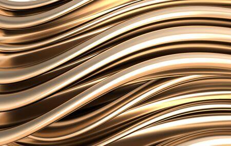 Golden foil waves background. Silk fabrick abstract 3d render