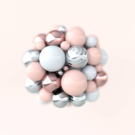 Colorful balls 3d rendering. Chaotic spheres geometric abstract background, primitive shapes, minimalistic design, pink and rose gold colors