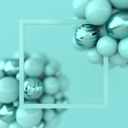 Colorful balls 3d rendering. Chaotic spheres geometric abstract background, frame, primitive shapes, minimalistic design, pastel green color