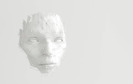 3d render human face with abstract web structure. Artificial intelligence concept. Young womans face Stok Fotoğraf