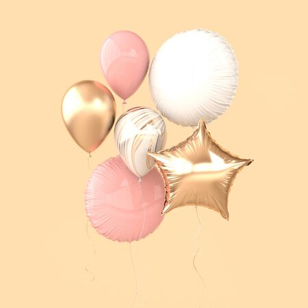Colorful and golden foil balloons isolated on beige background. 3d render element for birthday party, Valentine`s day, presentation. Sphere and star shape Zdjęcie Seryjne