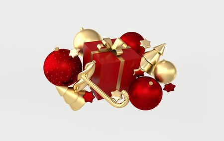 Merry Christmas and Happy New Year 3d render illustration card with ornate golden, red xmas balls, stars, christmas tree, candy. Winter decoration, xmas minimal design