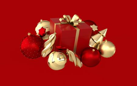 Merry Christmas and Happy New Year 3d render illustration card with golden, red xmas balls, stars, christmas tree, gift box. Winter decoration, xmas minimal design