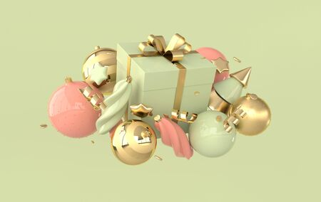 Merry Christmas and Happy New Year 3d render illustration card with pastel colored xmas balls, stars, christmas tree, gift box. Winter decoration, xmas minimal design
