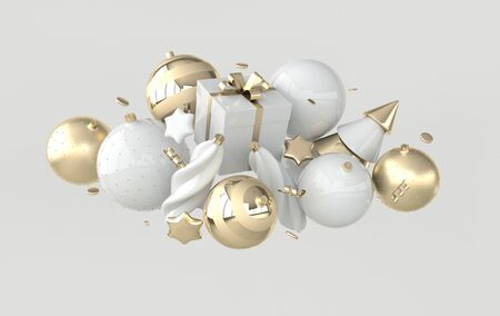 Merry Christmas and Happy New Year 3d render illustration card with white and golden xmas balls, stars, christmas tree, gift box, confetti. Winter decoration, xmas minimal design
