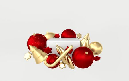 Merry Christmas and Happy New Year 3d render illustration with xmas balls, stars, christmas tree, platform for product presentation, mock up. Winter decoration, xmas minimal design
