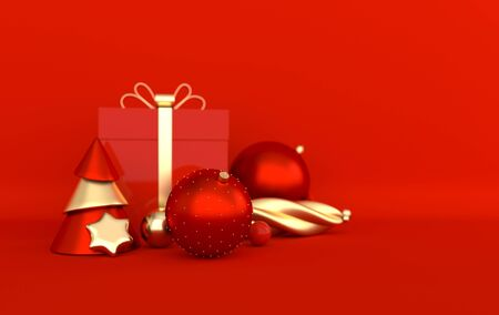 Merry Christmas and Happy New Year 3d render illustration card with red and golden xmas balls, stars, christmas tree, gift box. Winter decoration, xmas minimal design