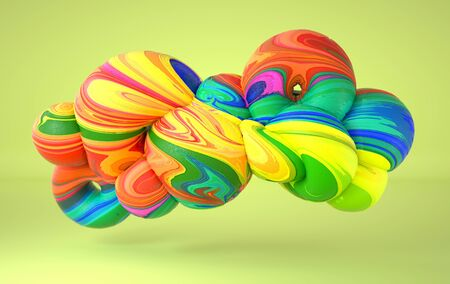 Abstract curved organic smooth soft forms with frozen icecream texture. Computer generated illustration. 3D rendering.  Zdjęcie Seryjne
