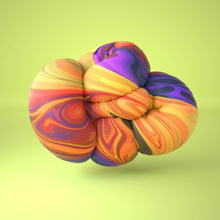 Abstract curved organic smooth soft forms with frozen icecream texture. Computer generated illustration. 3D rendering.