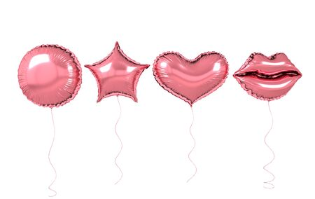 Pink foil balloons isolated on white background. 3d render elements for birthday party, presentation. Sphere, lips, heart and star shape