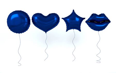 Blue foil balloons isolated on white background. 3d render elements for birthday party, presentation. Sphere, lips, heart and star shape Zdjęcie Seryjne