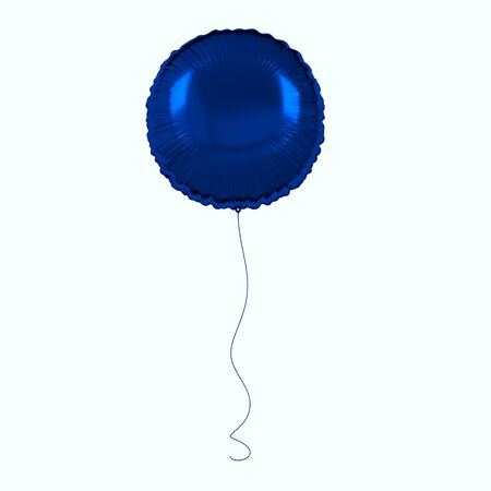 Blue foil balloon isolated on white background. 3d render element for birthday party, presentation. Sphere shape