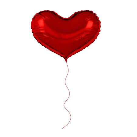 Red foil balloon isolated on white background. 3d render element for birthday party, Valentine`s day, presentation. Heart shape Zdjęcie Seryjne