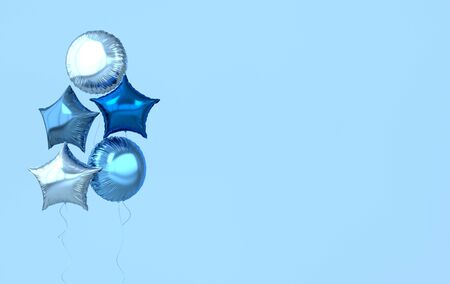 Colorful and golden foil balloons isolated on blue background. 3d render element for birthday party, Valentine`s day, presentation. Sphere and star shape