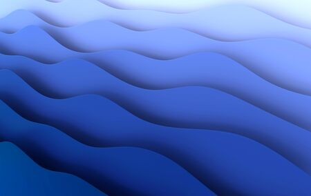Blue paper art cartoon abstract waves, folds Paper carve background. Modern origami design template. 3d rendering illustration.