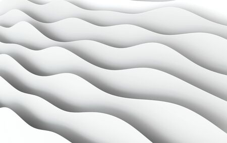 Abstract white paper waves 3d rendering. Modern minimal design, paper art style