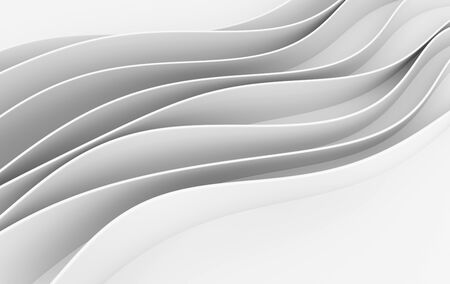 Abstract white waves 3d rendering. Modern minimal design